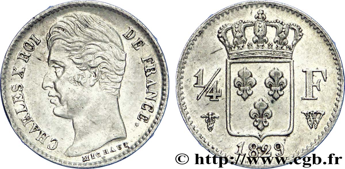 1/4 franc Charles X 1829 Lille F.164/38 SUP
