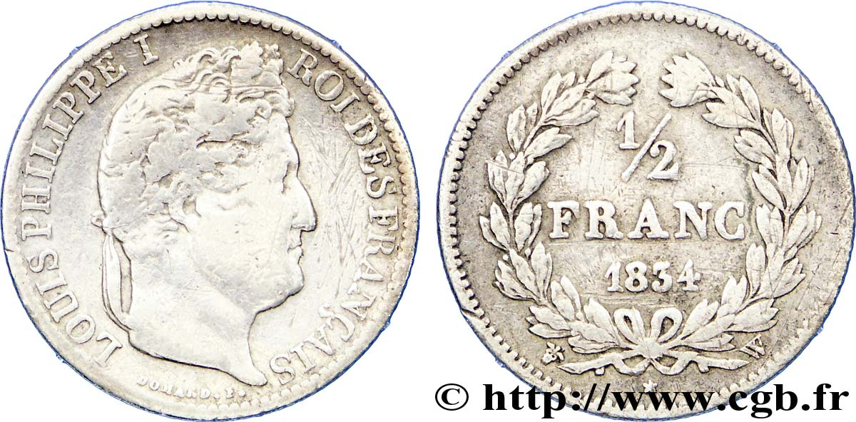 1/2 franc Louis-Philippe 1834 Lille F.182/51 TB