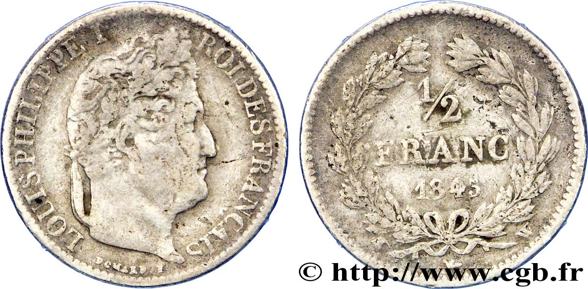 1/2 franc Louis-Philippe 1845 Lille F.182/109 TB