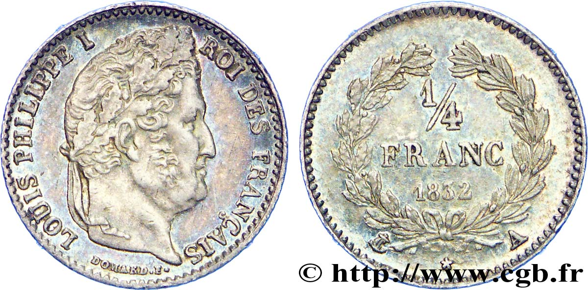 1/4 franc Louis-Philippe 1832 Paris F.166/14 SUP