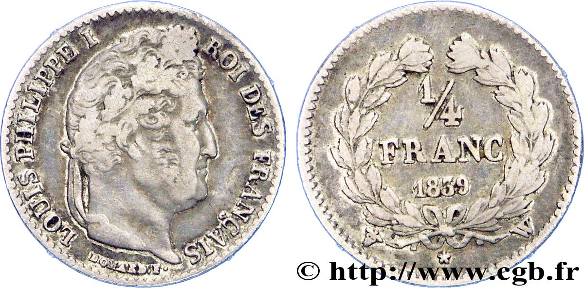 1/4 franc Louis-Philippe 1839 Lille F.166/79 TB
