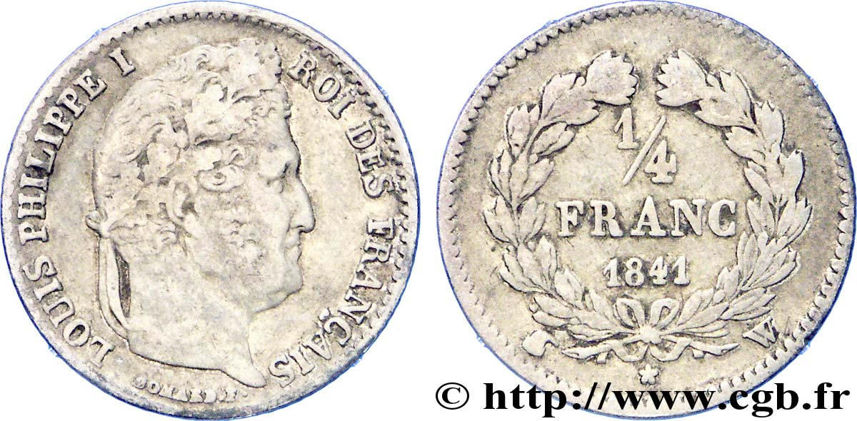 1/4 franc Louis-Philippe 1841 Lille F.166/88 TB