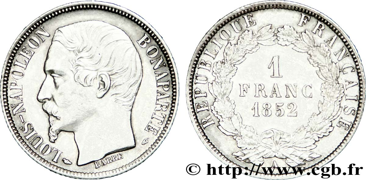 1 franc Louis-Napoléon 1852 Paris F.212/1 SUP
