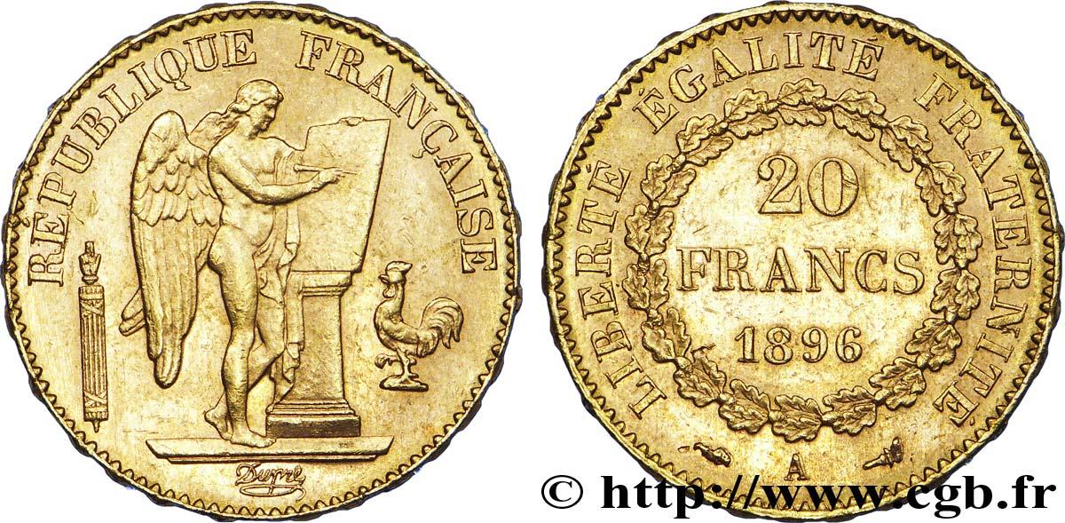 20 francs or g nie troisi me r publique diff rent torche 1896 paris v40 1294 modernes. Black Bedroom Furniture Sets. Home Design Ideas