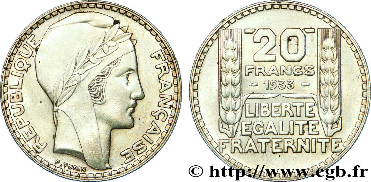 20 francs Turin, rameaux courts 1933  F.400A/1 SUP