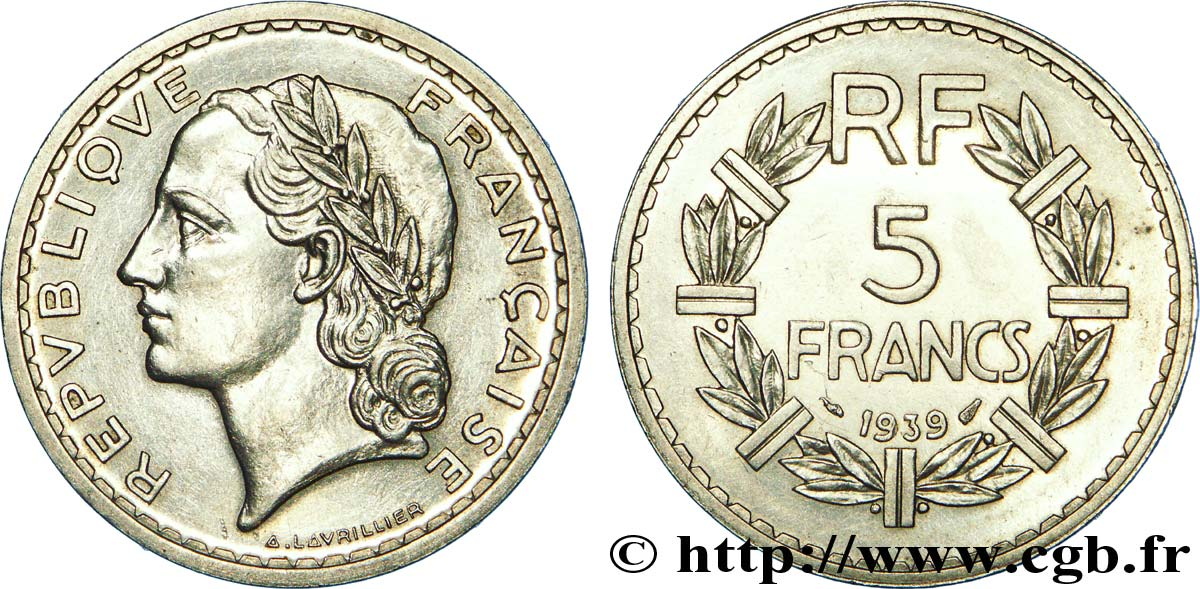 5 francs Lavrillier, nickel 1939  F.336/8 SUP