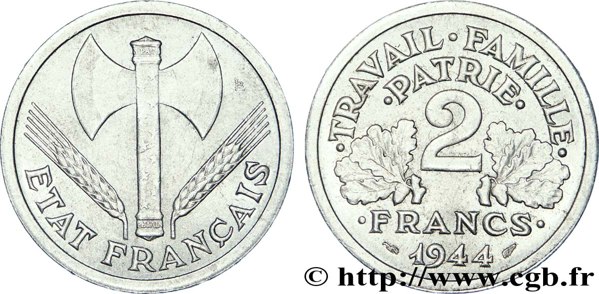 2 francs Francisque 1944  F.270/4 SUP