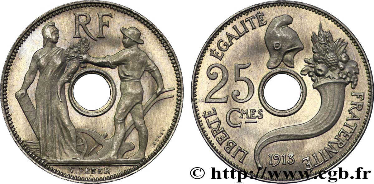 Essai de 25 centimes par Peter, grand module 1913 Paris VG.4758 SPL