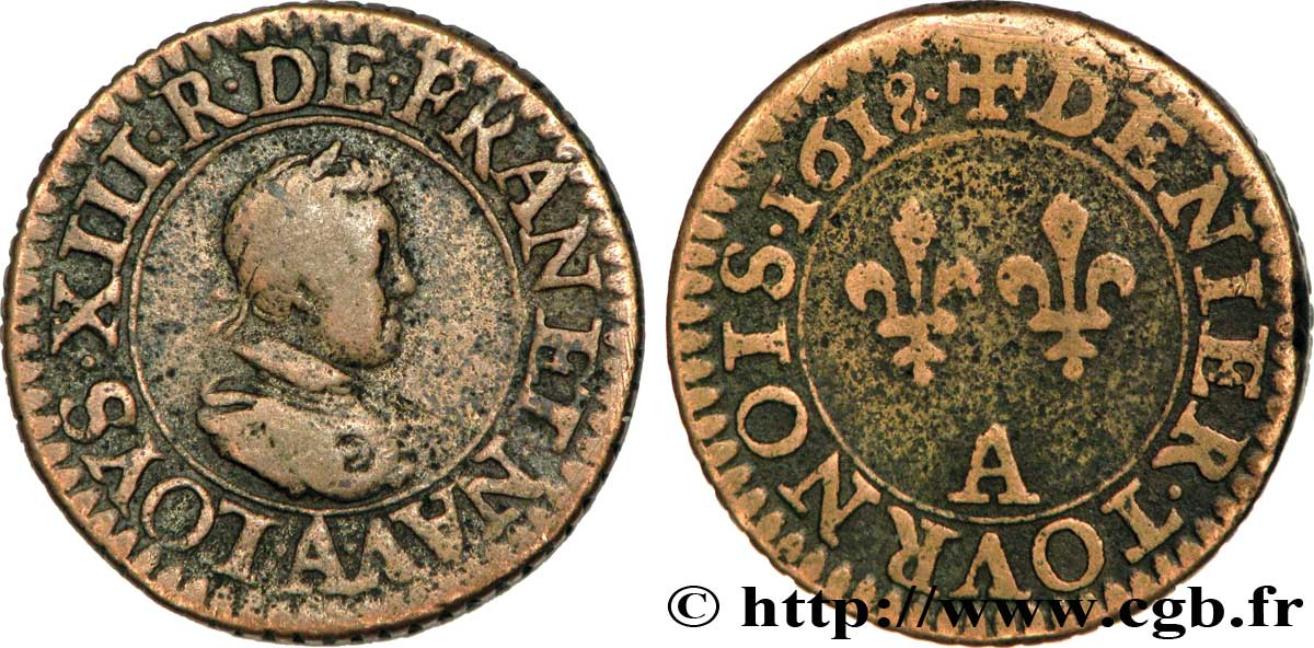 LOUIS XIII LE JUSTE Piéfort quadruple du denier tournois 1618 Paris TB+