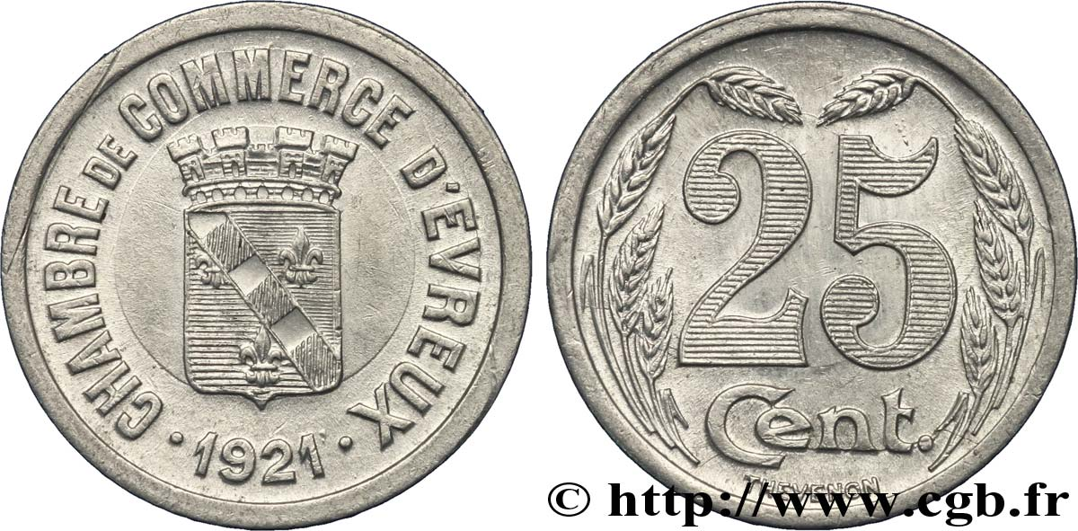 Chambre de commerce d evreux 25 centimes evreux fnc 237276 for Chambre de commerce evreux