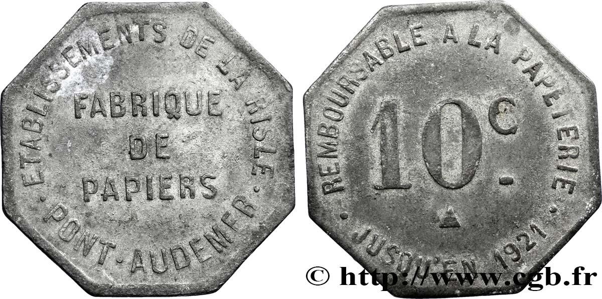 ETABLISSEMENTS DE LA RISLE FABRIQUE DE PAPIER 10 Centimes