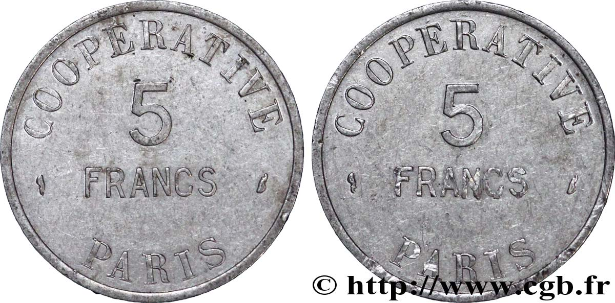COOPERATIVE PARIS 5 Francs TB