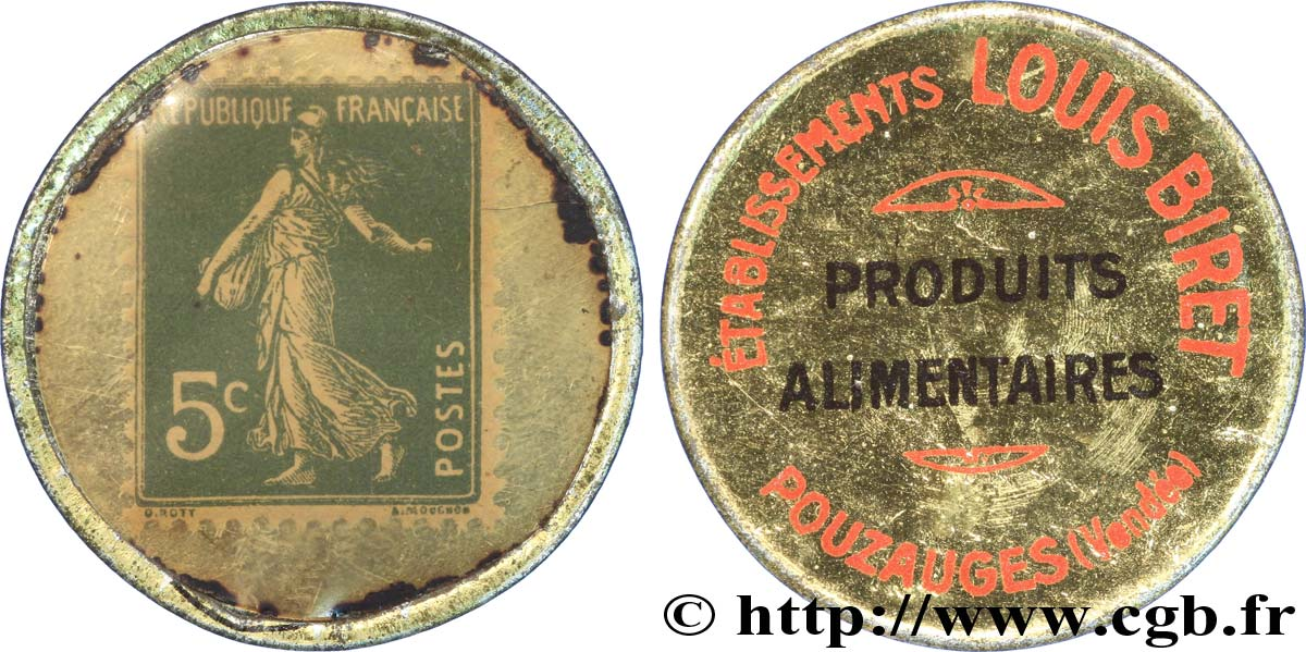 ETABLISSEMENTS LOUIS BIRET Timbre 5 Centimes TTB