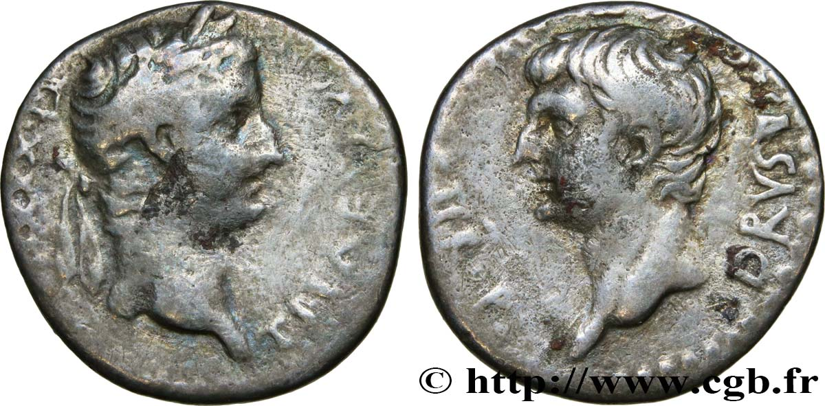 TIBERIUS and DRUSUS Drachme VF