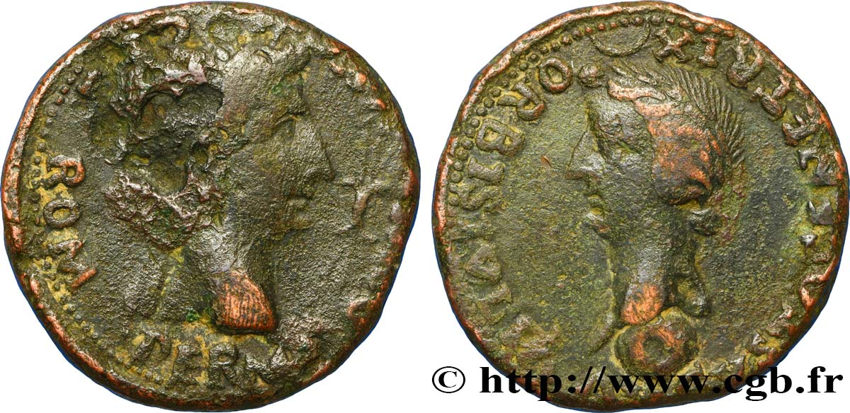 DIVINE AUGUSTUS and LIVIA Sesterce VF/XF