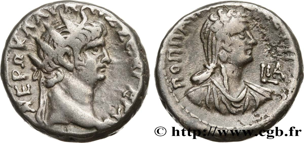 NERO and POPPAEA Tétradrachme XF