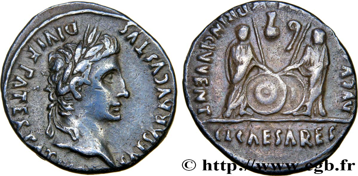 AUGUSTUS, CAIUS and LUCIUS Denier XF