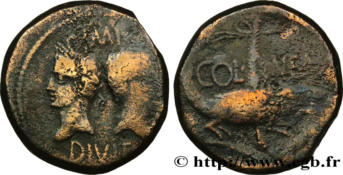 AUGUSTUS and AGRIPPA Dupondius VF