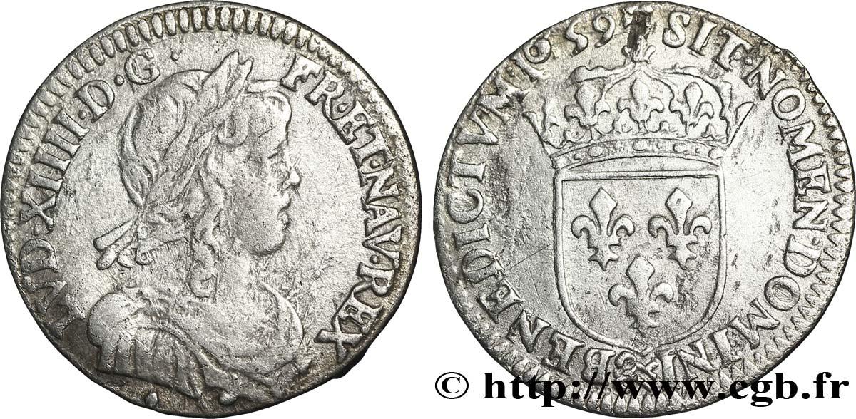 LOUIS XIV THE SUN KING Douzième décu à la mèche longue 1659 Aix-en-Provence