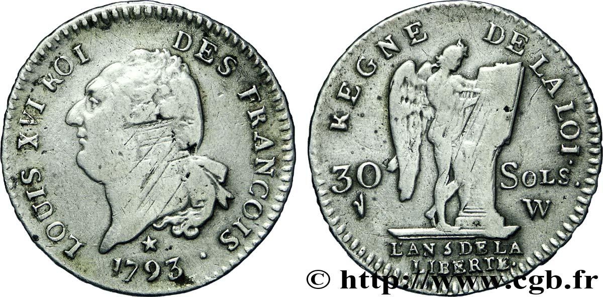 Louis xvi monarque constitutionnel 30 sols dit au g nie type f - Sol en piece de monnaie ...