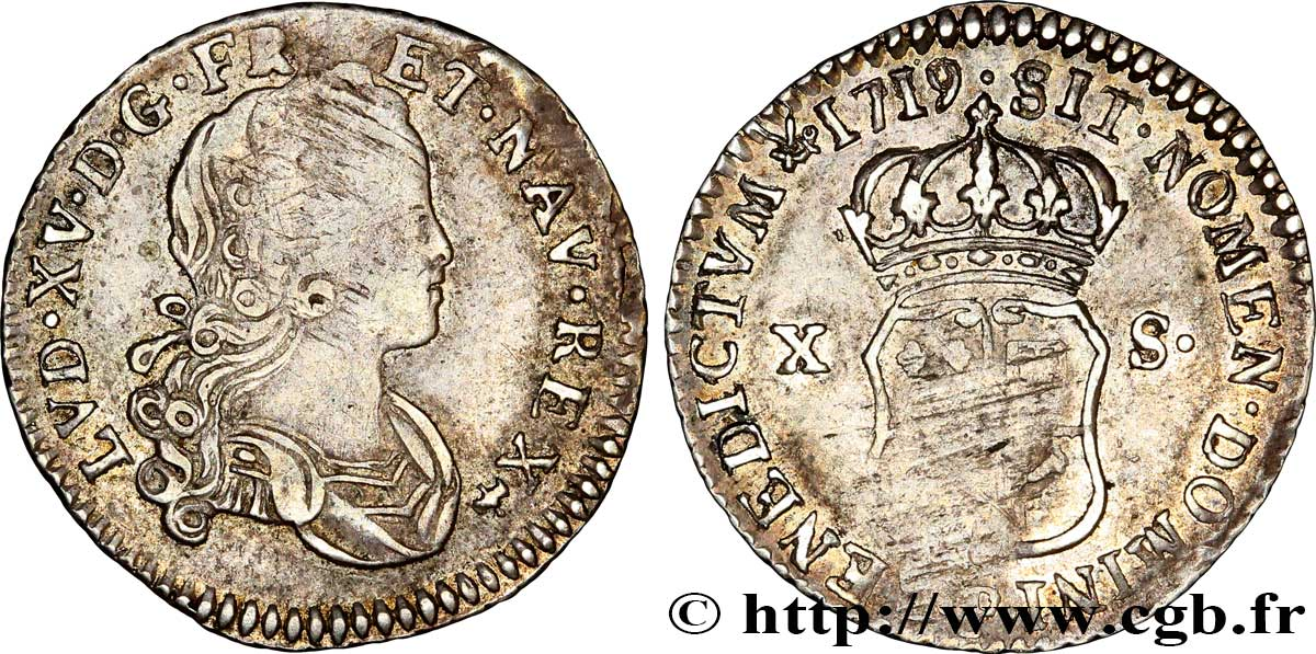 LOUIS XV DIT LE BIEN AIMÉ X sols de Navarre 1719 Dijon