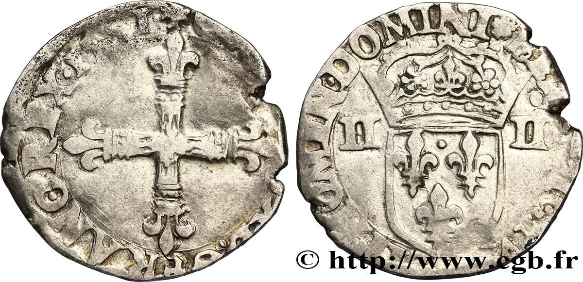 CHARLES X, CARDINAL DE BOURBON Quart décu, croix de face 1591 Nantes