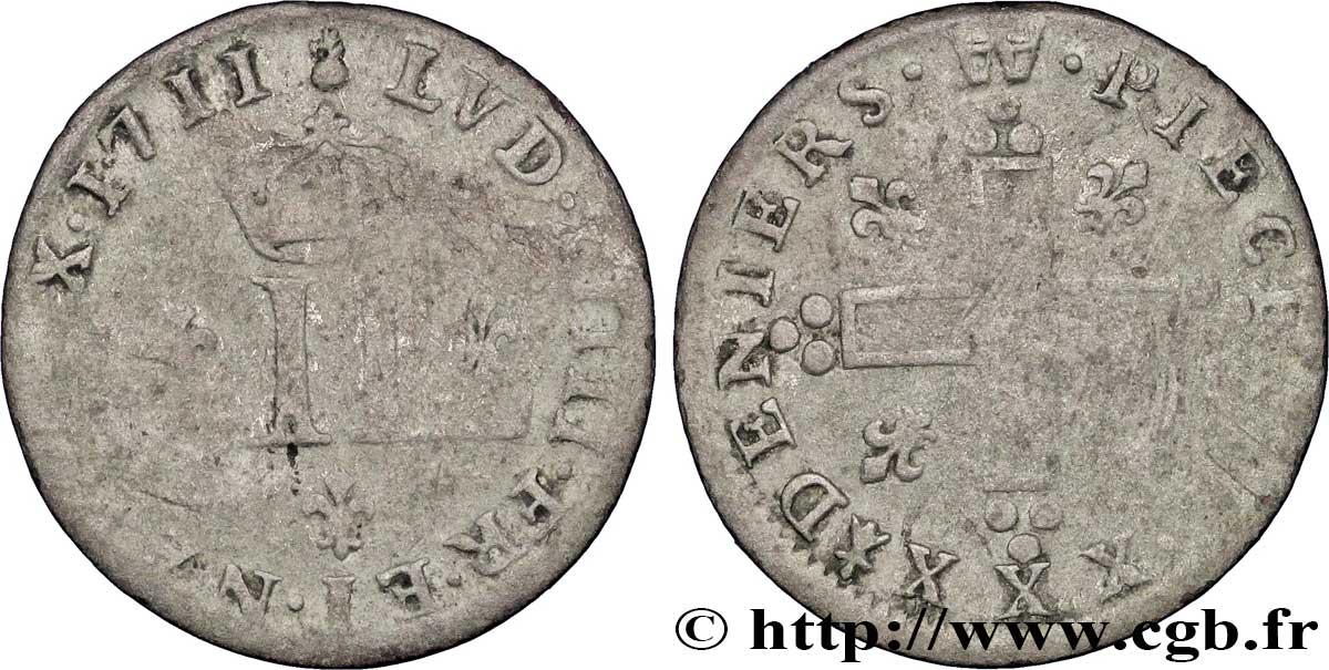 LOUIS XIV THE SUN KING XXX deniers aux 2 L couronnées 1711 Metz