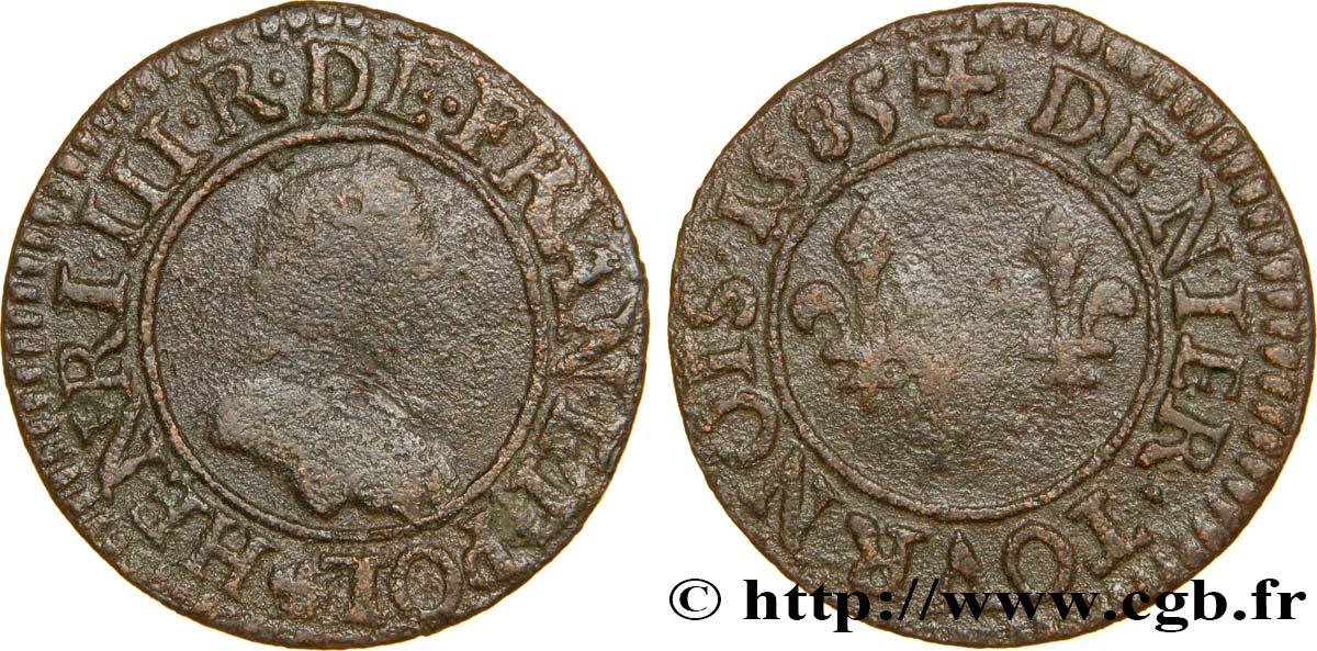 HENRI III Denier tournois, 1er type de Paris 1585 Paris, Moulin des Étuves
