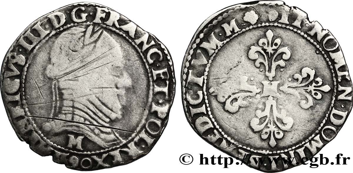 THE LEAGUE. COINAGE IN THE NAME OF HENRY III Demi-franc au col plat 1590 Toulouse F