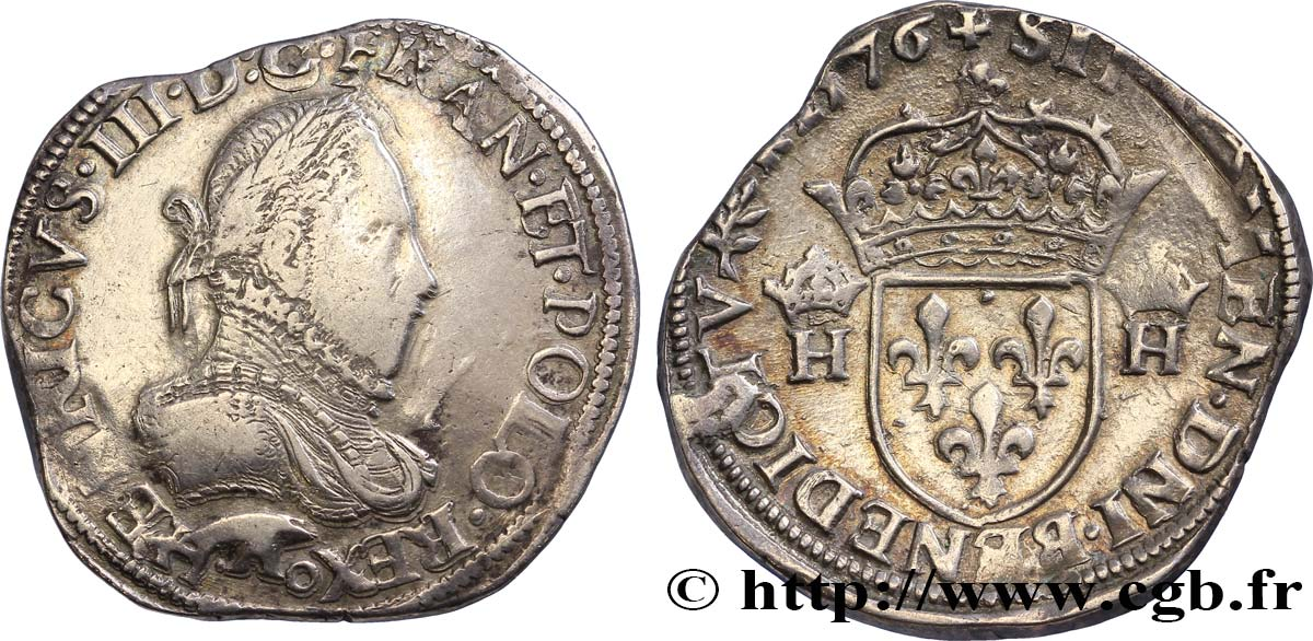 HENRI III Teston, 3e type, col gaufré 1576 Paris TTB
