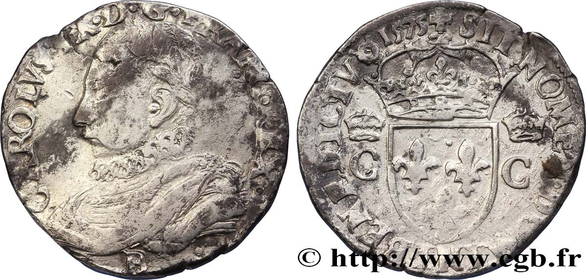 HENRY III. COINAGE IN THE NAME OF CHARLES IX Teston, 10e type 1575 Rouen VF