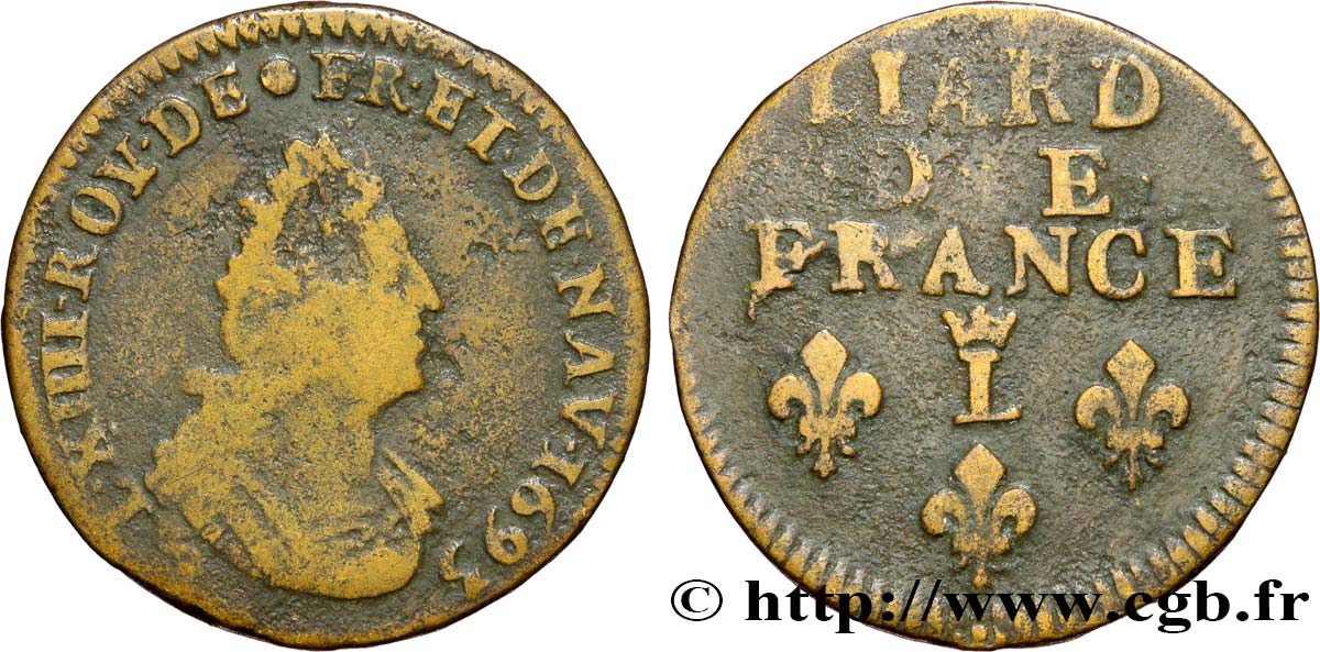 LOUIS XIV  THE SUN KING  Liard, 3e type, buste âgé 1693 Lille fS/S