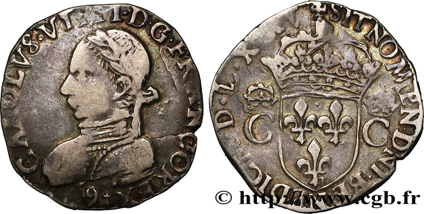 HENRY III. COINAGE IN THE NAME OF CHARLES IX Teston, 2e type 1575 (MDLXXV) Rennes VF/XF