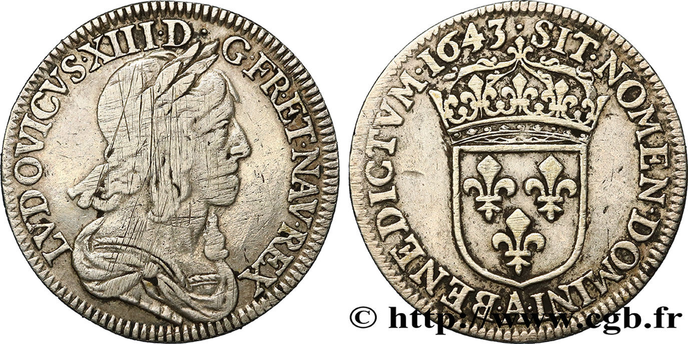 LOUIS XIII Quart décu dargent, 3e type, 2e poinçon de Warin 1643 Paris, Monnaie du Louvre VF/XF