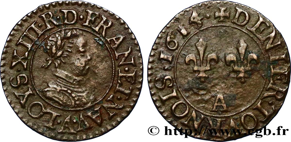 LOUIS XIII LE JUSTE Denier tournois, type de Paris 1614 Paris SUP/TTB