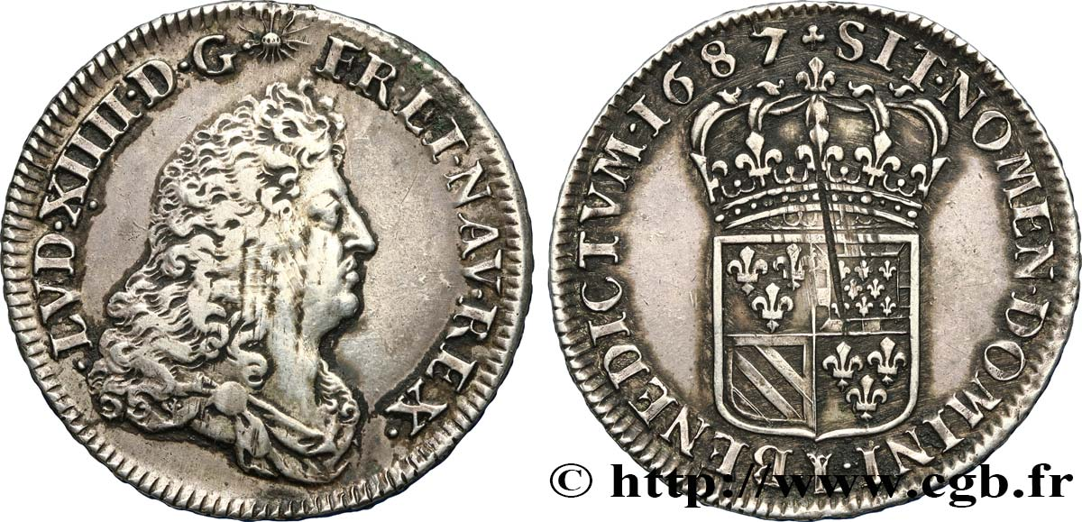 LOUIS XIV  THE SUN KING  Demi-écu de Flandre 1687 Lille SS