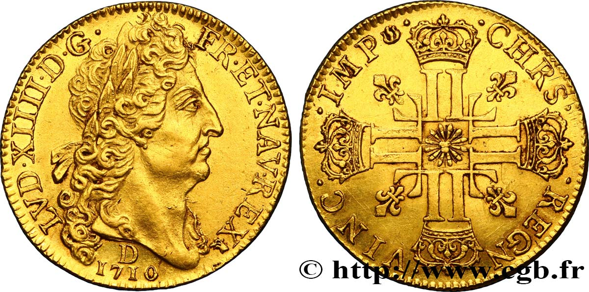 LOUIS XIV  THE SUN KING  Double louis d or au soleil 1710 Lyon AU