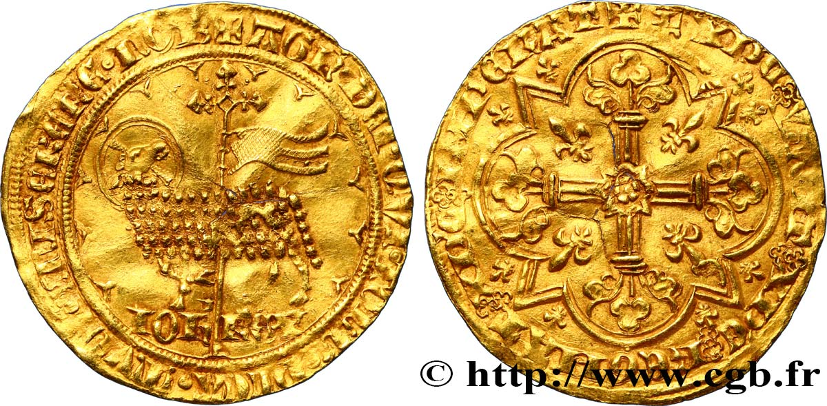 JOHN II  THE GOOD  Mouton d or 17/01/1355  XF