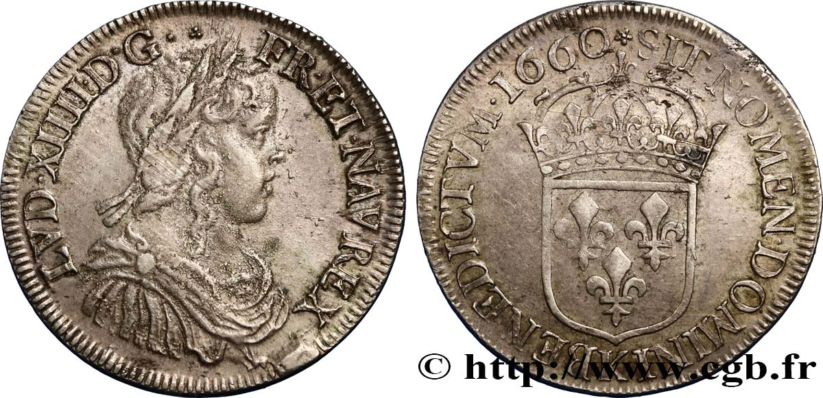 LOUIS XIV  THE SUN KING  Demi-écu à la mèche longue 1660 Bordeaux AU/XF