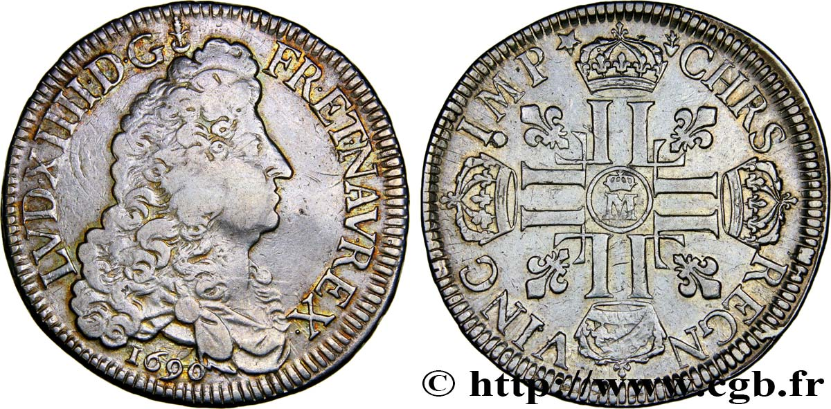 LOUIS XIV  THE SUN KING  Écu aux huit L, 1er type 1690 Metz fSS/SS