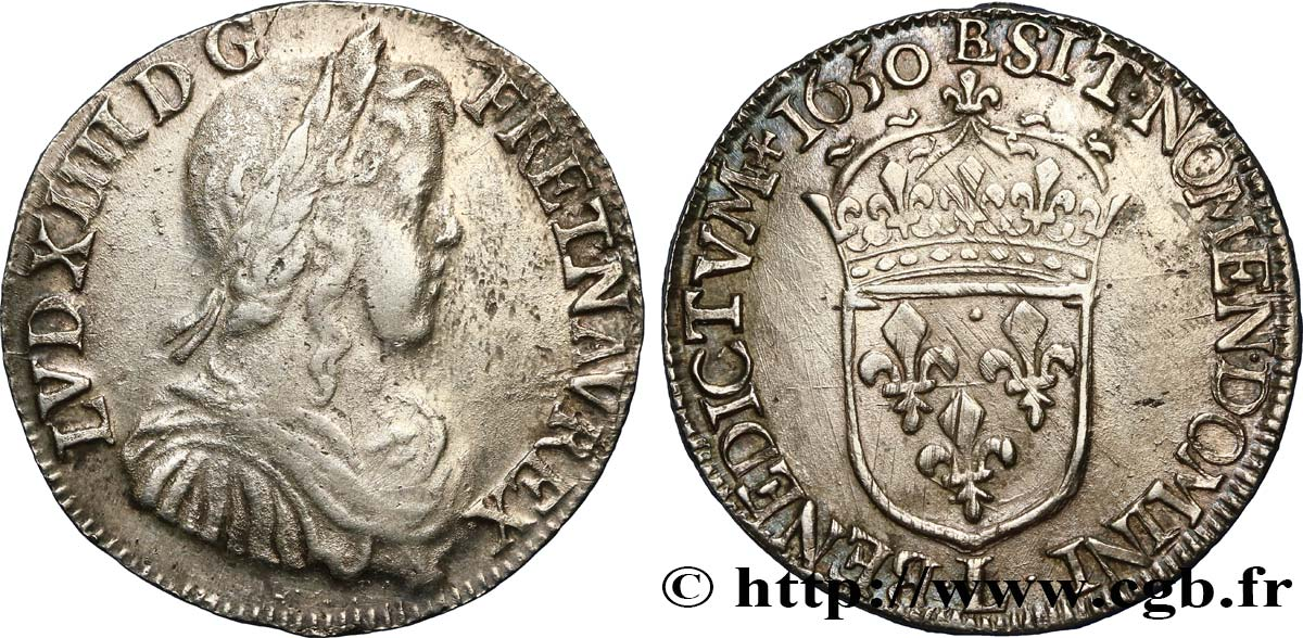 LOUIS XIV  THE SUN KING  Demi-écu à la mèche longue 1650 Bayonne VF/XF
