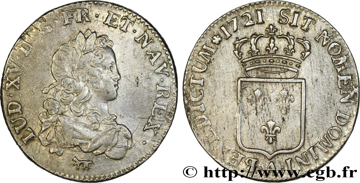 LOUIS XV THE BELOVED Tiers d écu de France 1721 Paris XF