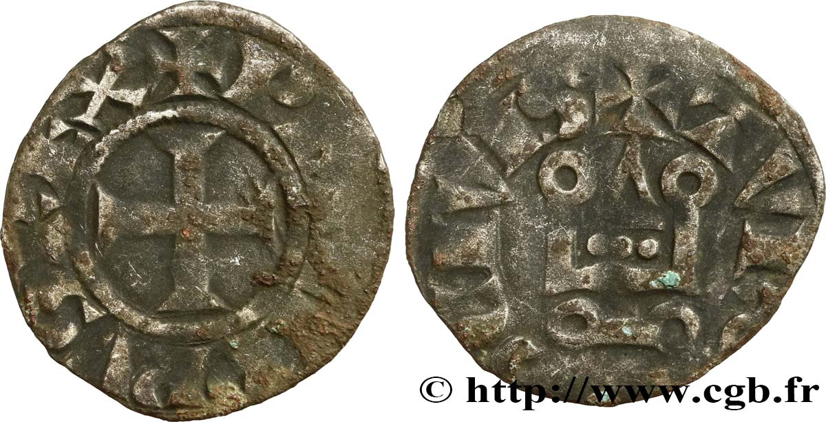 PHILIP III  THE BOLD  AND PHILIP IV  THE FAIR  Denier tournois à l O rond n.d. s.l. F/VF