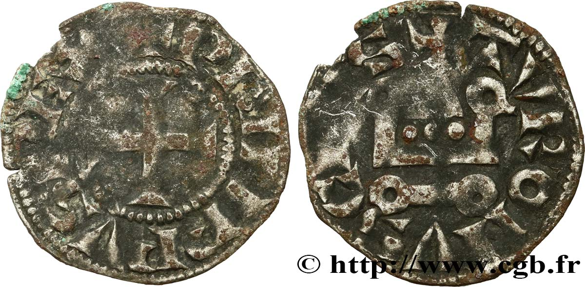 PHILIP III  THE BOLD  AND PHILIP IV  THE FAIR  Denier tournois à l O rond n.d. s.l. VF