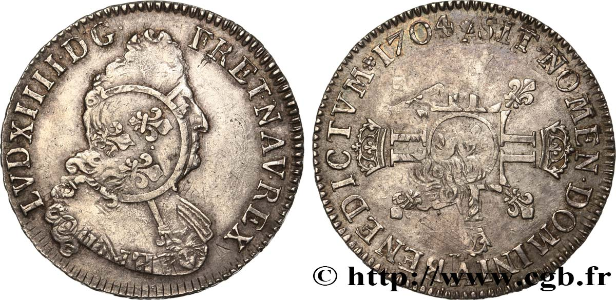 LOUIS XIV  THE SUN KING  Demi-écu aux huit L, 2e type 1704 Paris XF