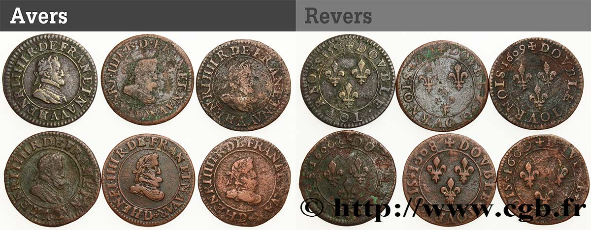 HENRY IV Lot de 6 doubles tournois n.d. s.l. VF
