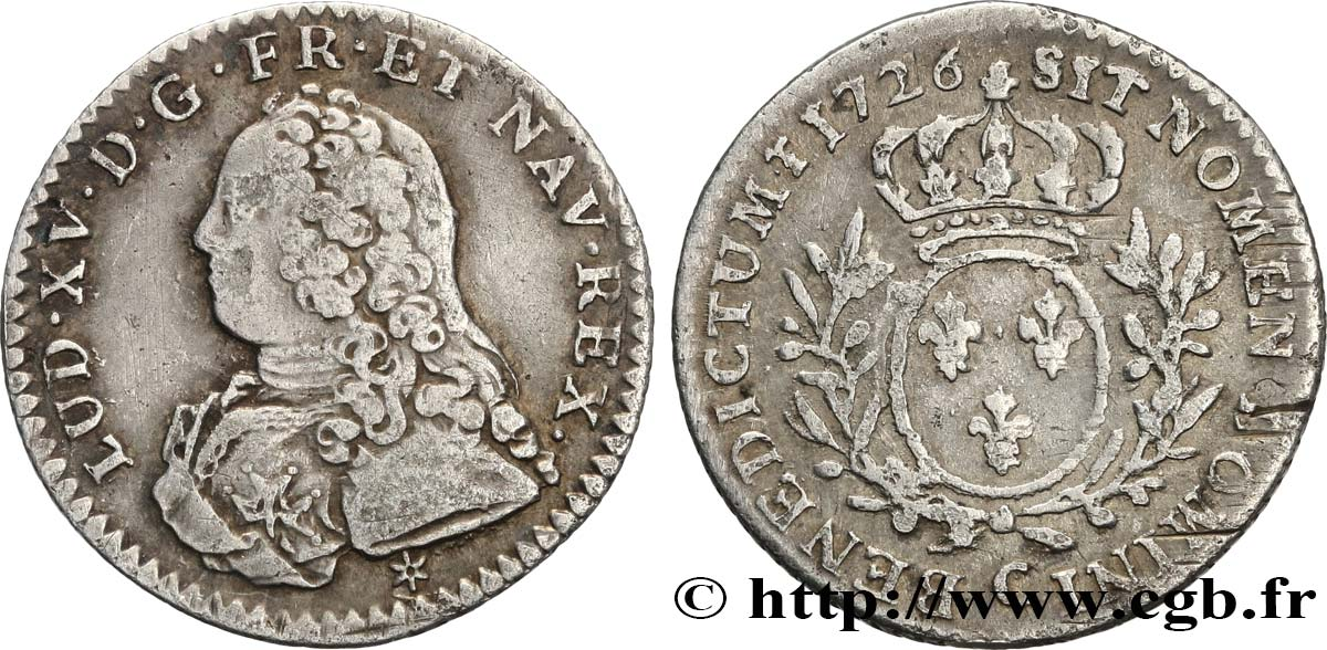 "LOUIS XV THE BELOVED Dixième d écu dit ""aux branches d olivier"" 1726 Caen VF"