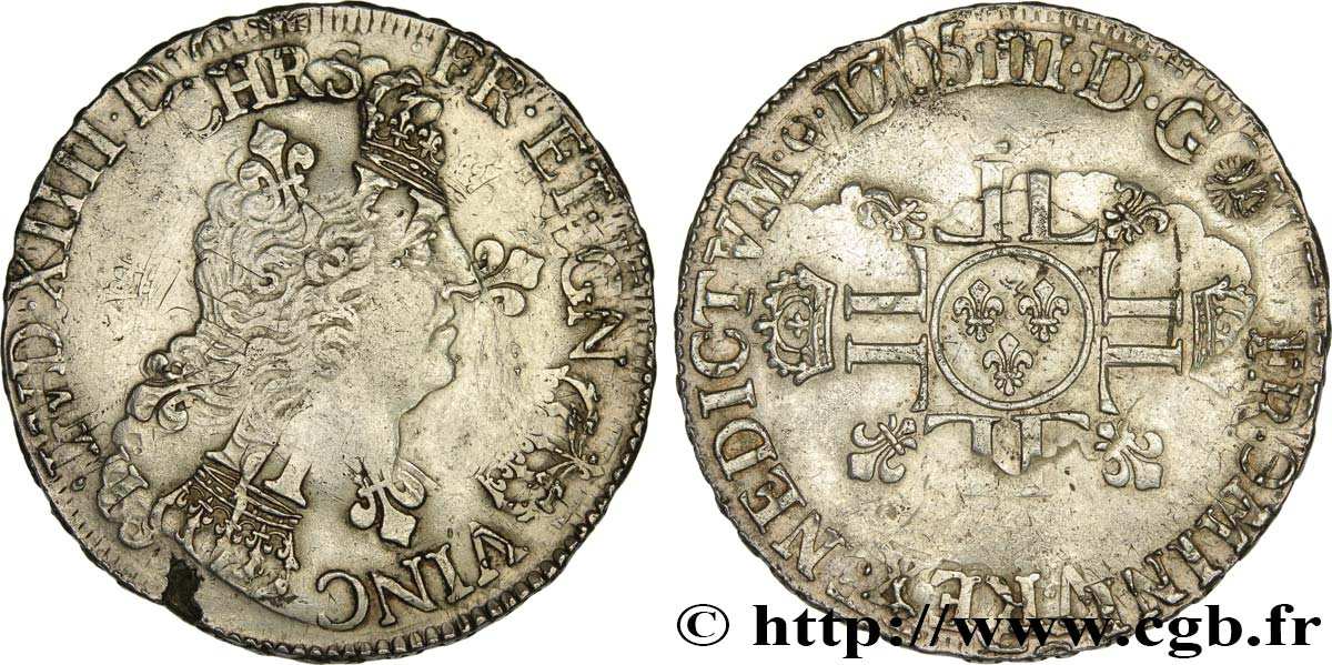 LOUIS XIV  THE SUN KING  Écu aux huit L, 2e type 1705 Poitiers XF