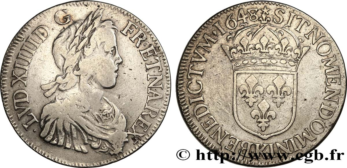 LOUIS XIV  THE SUN KING  Écu à la mèche longue 1648 Bordeaux VF