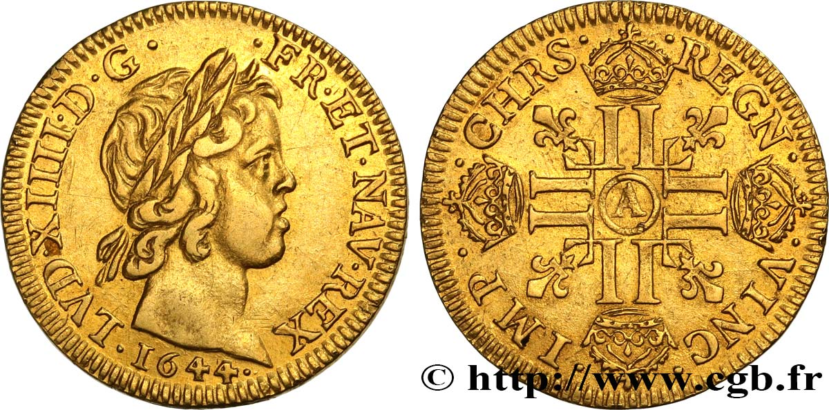 LOUIS XIV  THE SUN KING  Louis d or à la mèche courte 1644 Paris, Monnaie du Louvre AU/AU